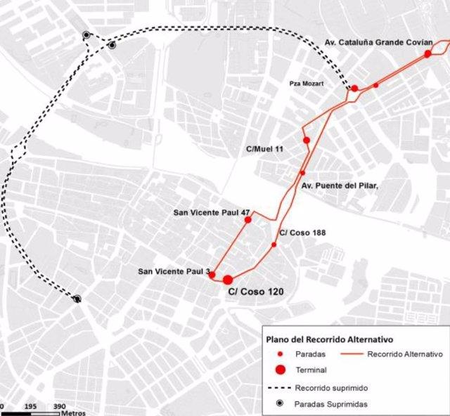 Modificación del recorrido de la línea 211 por obras en María Agustín