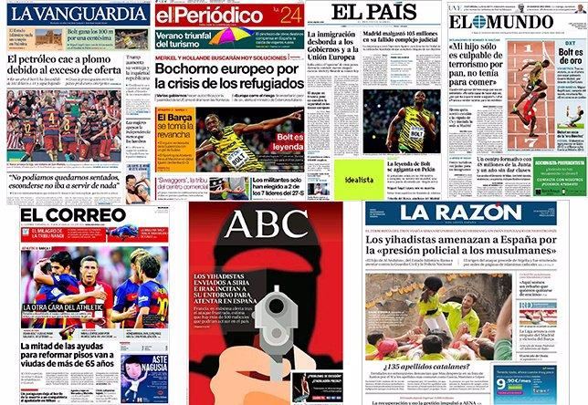 Diarios de España (24 de agosto)