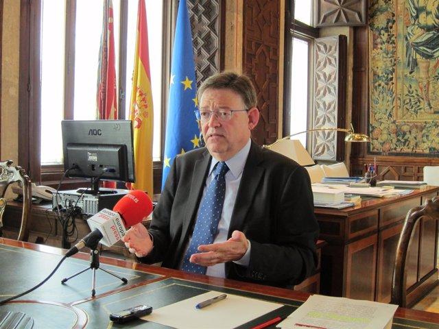 Ximo Puig en una entrevista con Europa Press
