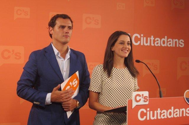 El líder de C's, Albert Rivera, y la candidata el 27S, Inés Arrimadas