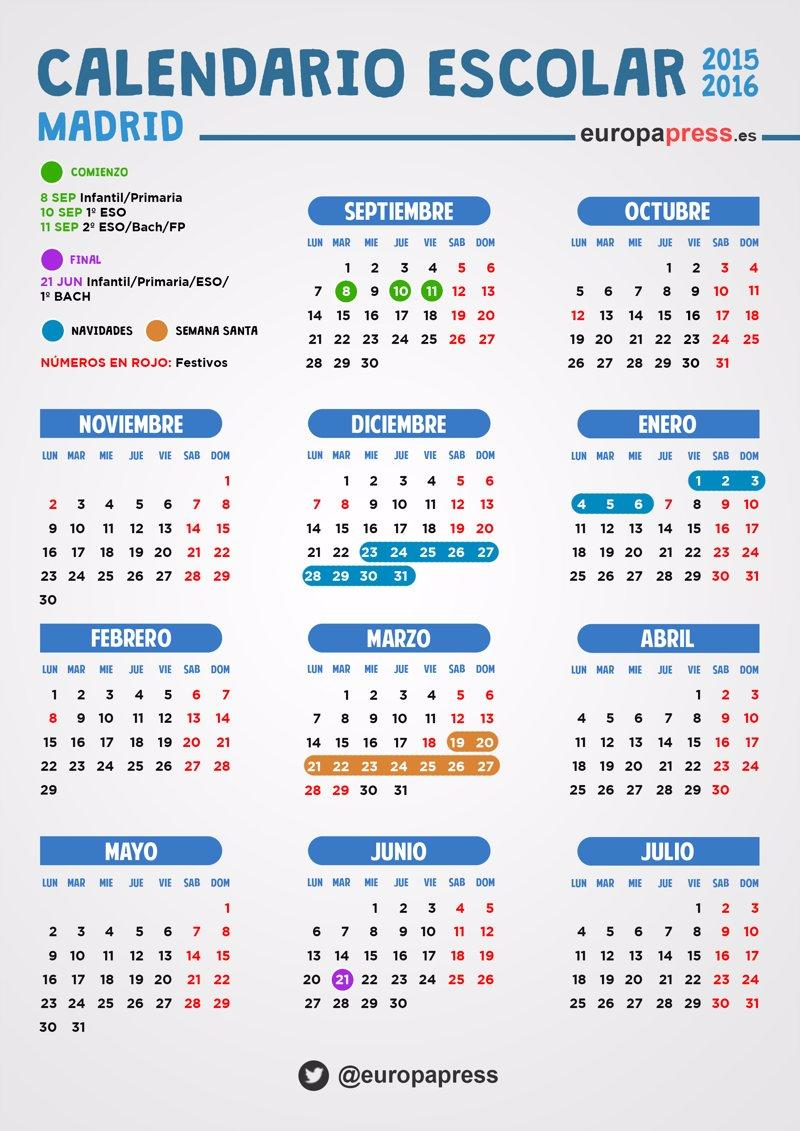 Calendario escolar 2015 2016 en madrid festivos puentes for Calendario eventos madrid