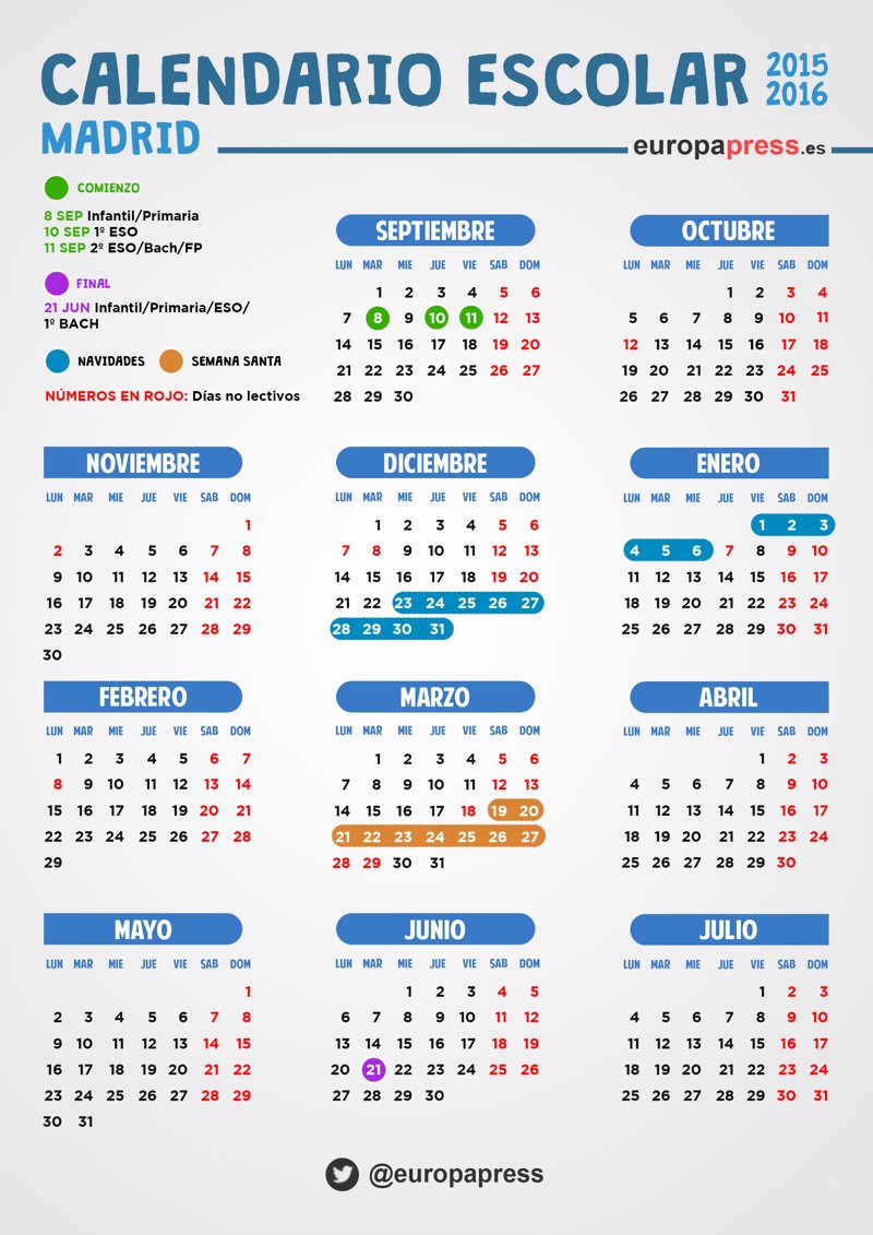 Calendario escolar 2015 2016 en madrid festivos puentes for Calendario eventos madrid