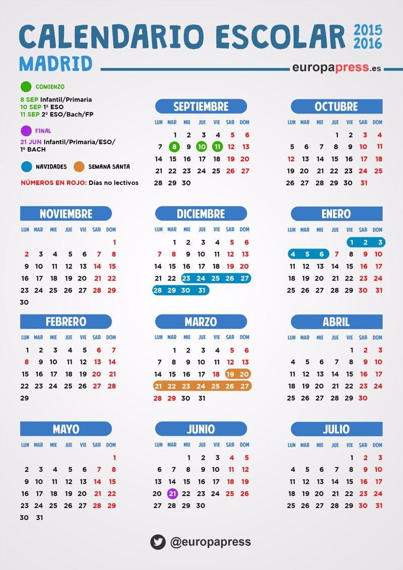 Calendario Escolar Madrid.Calendario Escolar 2015 2016 En Madrid Festivos Puentes Y Fiestas Locales