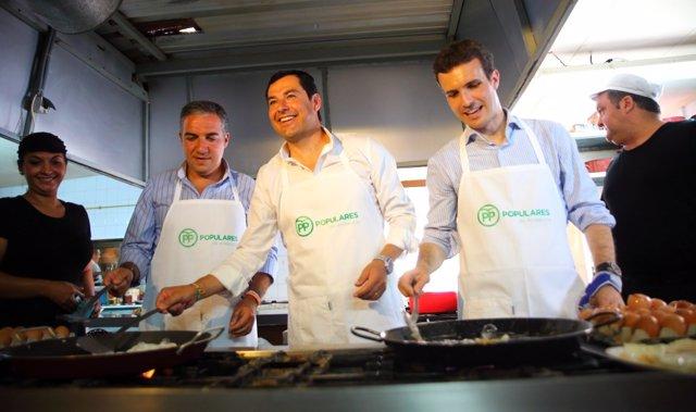 Elías Bendodo, Juanma Moreno y Pablo Casado