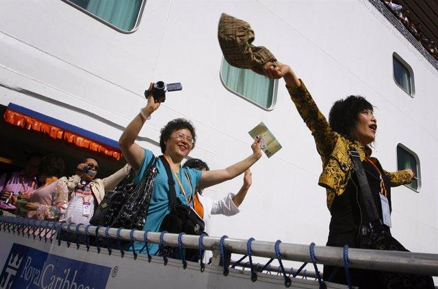 Turistas chinos desembarcando en Taiwán