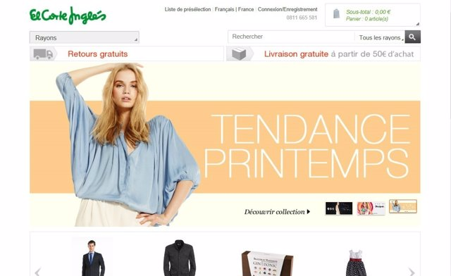 Web de El Corte Inglés Francia