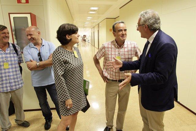 Olona, Sánchez Quero y Arruebo, antes de la reunión este jueves