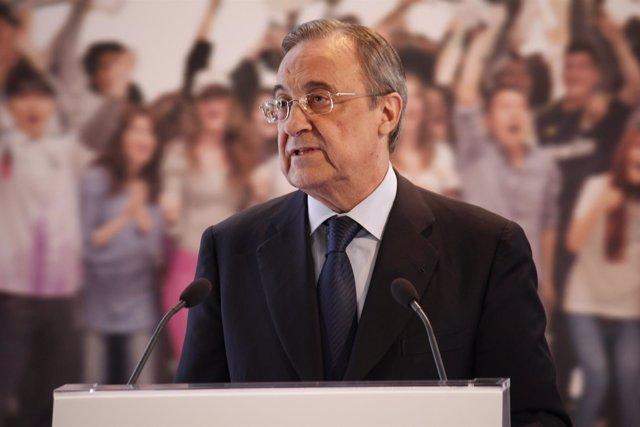 Florentino Pérez durante el acto de la nueva app del Real Madrid