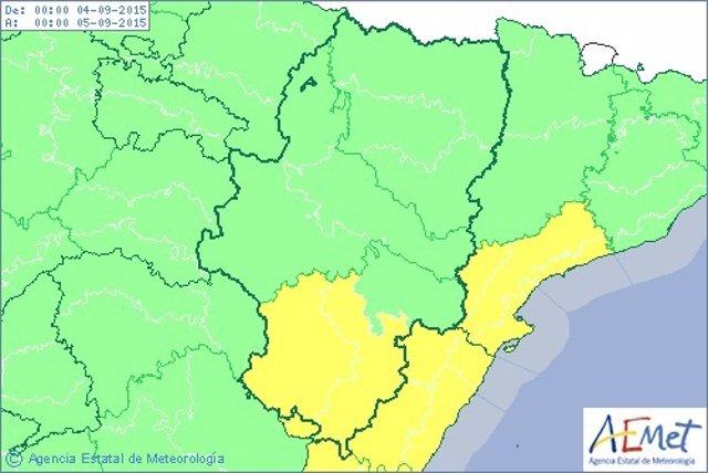 Aviso amarillo por lluvias en el sur de Teruel