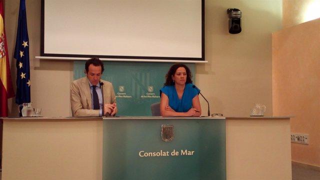 El portavoz del Govern, Marc Pons, y la consellera de Hacienda, Catalina Cladera