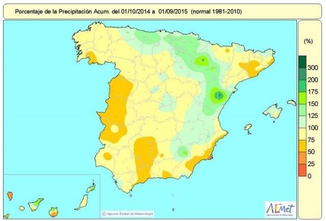 Mapa de distribución de las temperaturas en España hasta el 1 de septiembre 2015