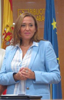 La consejera de Educación, Mayte Pérez, en un acto este viernes en Zaragoza