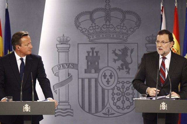 Rajoy y David Cameron en Moncloa