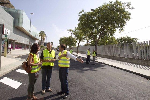 Visita a obras en el bulevar de Ciudad Expo de Mairena del Aljarafe