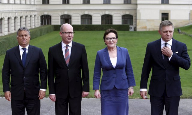 Primeros ministros de República Checa, Hungría, Polonia y Eslovaquia