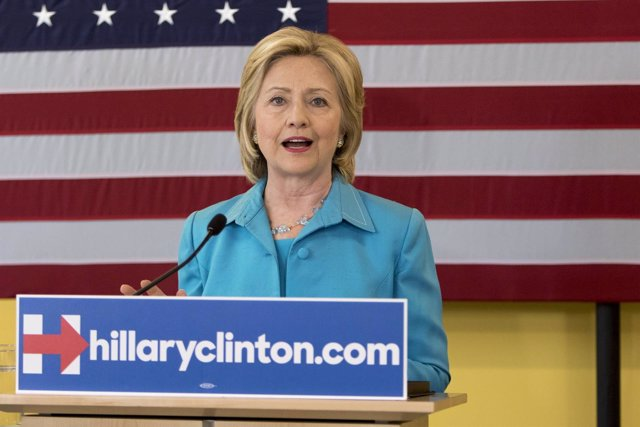 Democratic presidential hopeful Clinton talks about her environmental plan durin