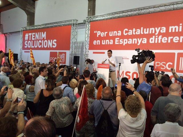 El secretario general del PSOE, Pedro Sánchez, en Tarragona
