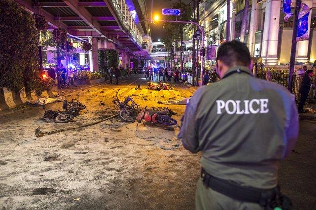 Policía Bangkok, Tailandia, atentado bomba