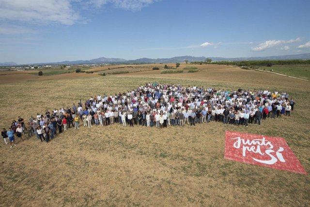 Acto de precampanya de Junts pel Sí en Mollet del Vallès (Barcelona)
