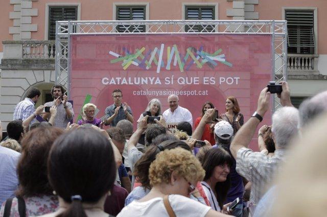 Lluís Rabell e Íñigo Errejón en el acto de Catalunya Si que es Pot