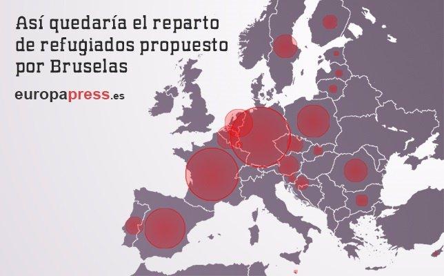 Mapa de reparto de refugiados