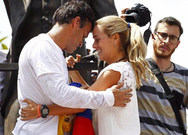 Leopoldo López y su mujer Lilian Tintori