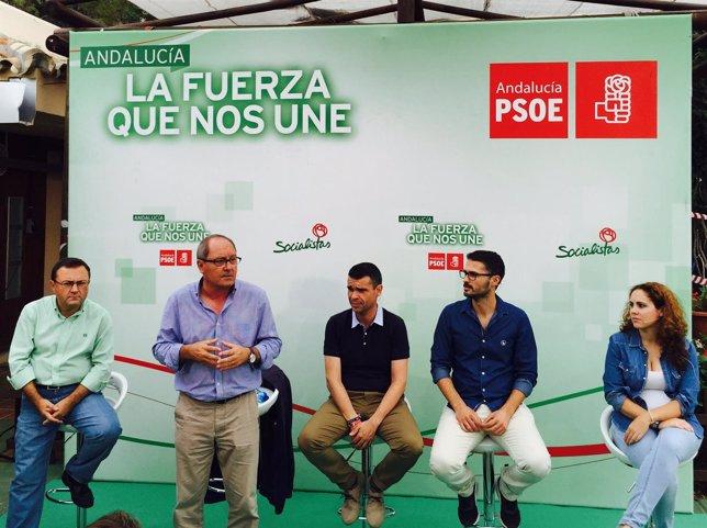 Heredia, Cornejo, Bernal y Durán, PSOE, en Escuela de Verano de JSA en Marbella