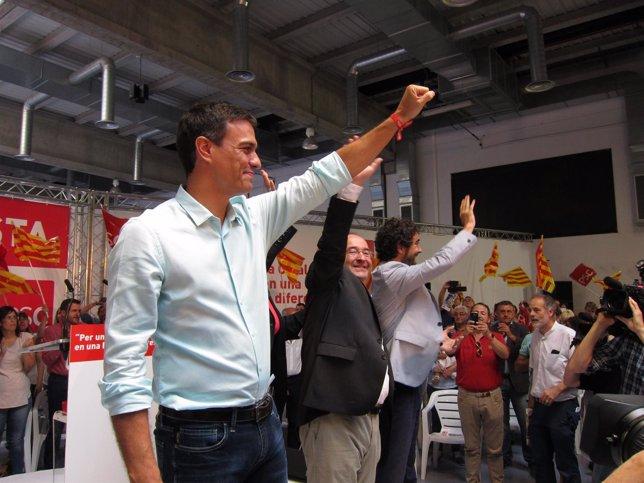 Pedro Sánchez (PSOE), M.Iceta, C.Castillo (PSC)