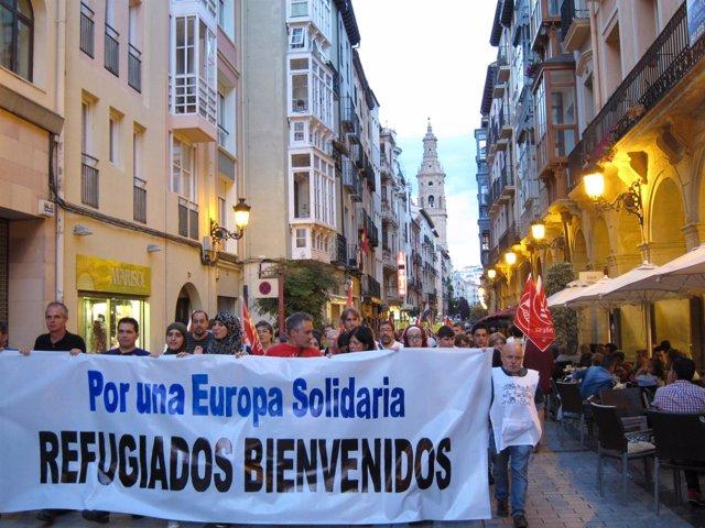Manifestación para pedir la integración de los refugiados sirios