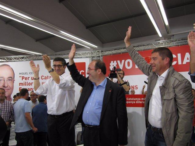 M.Iceta (PSC), P.López (PSOE), Y J.Ayuso (PSC)