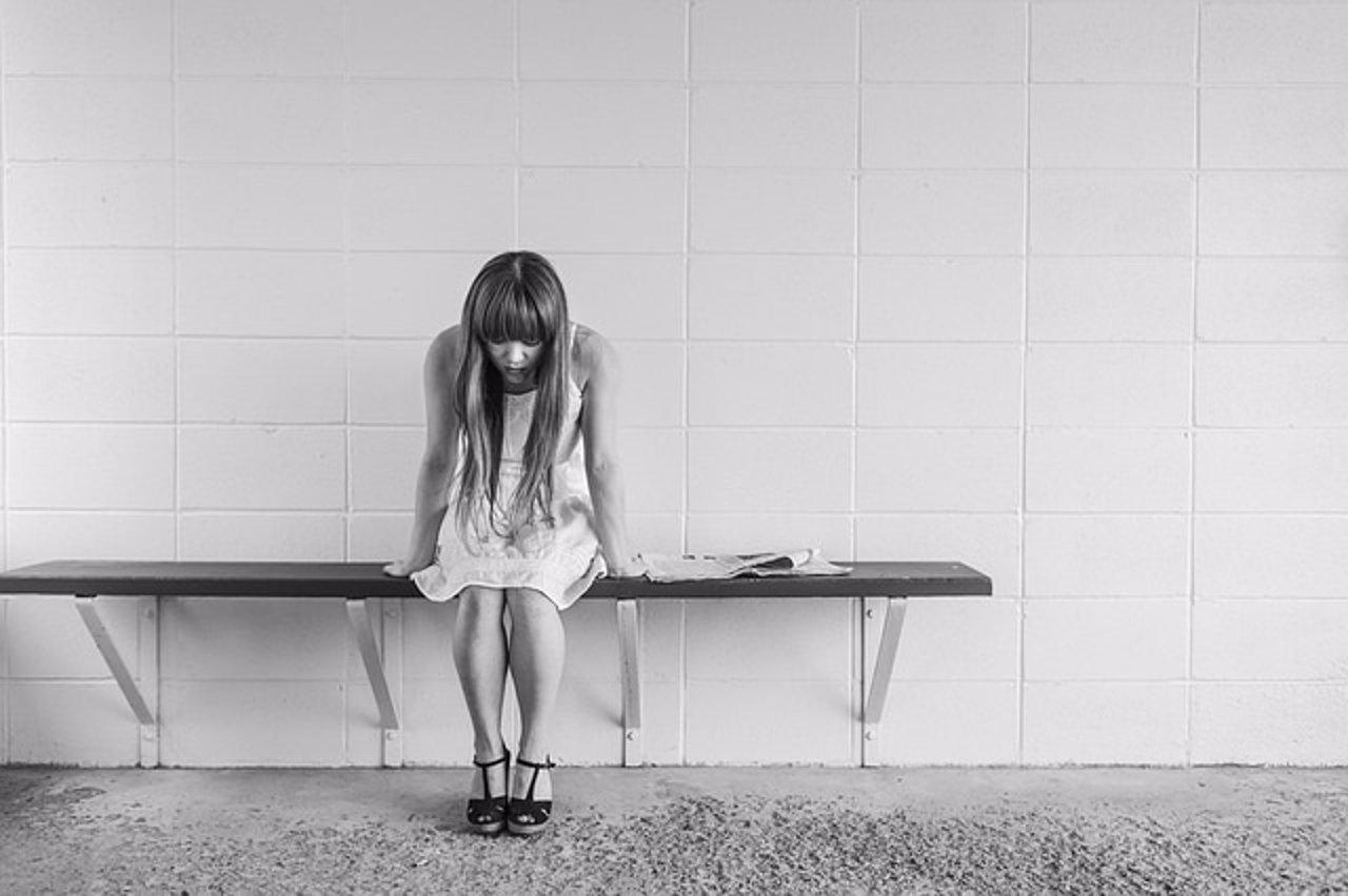 Depresión, mujer, delgada