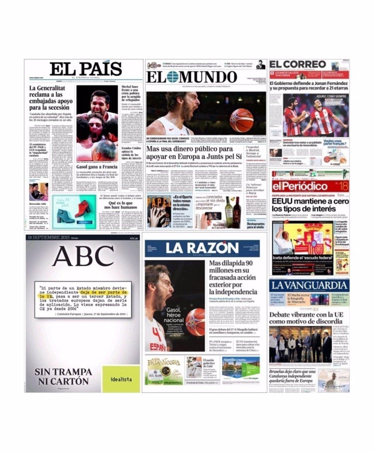 Portadas diarios del 18/09/2015