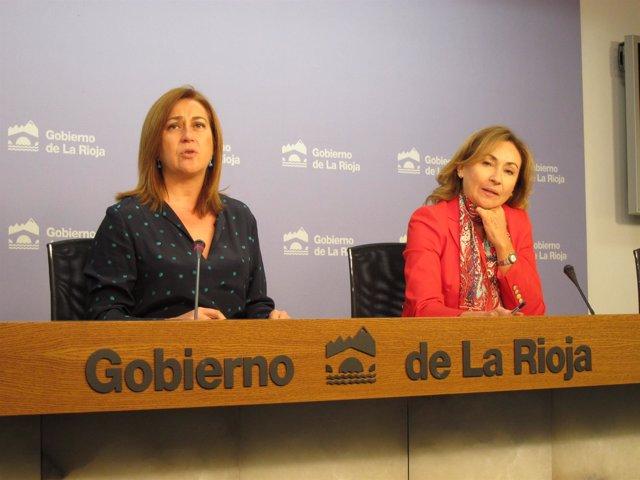 La portavoz del Gobierno Begoña Martínez y la consejera de Salud