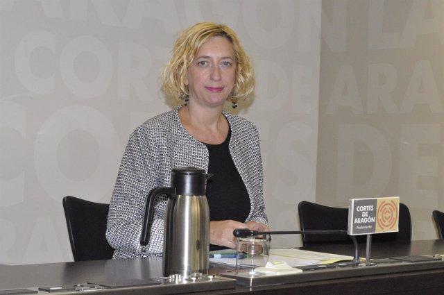 Patricia Luquin (IU), en la sala de prensa de las Cortes de Aragón