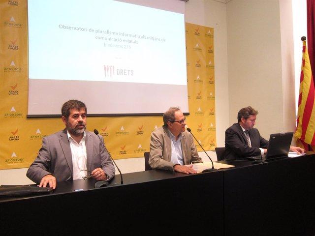 J.Sànchez (ANC), Q.Torra (Òmnium) y S.Blázquez (Drets)