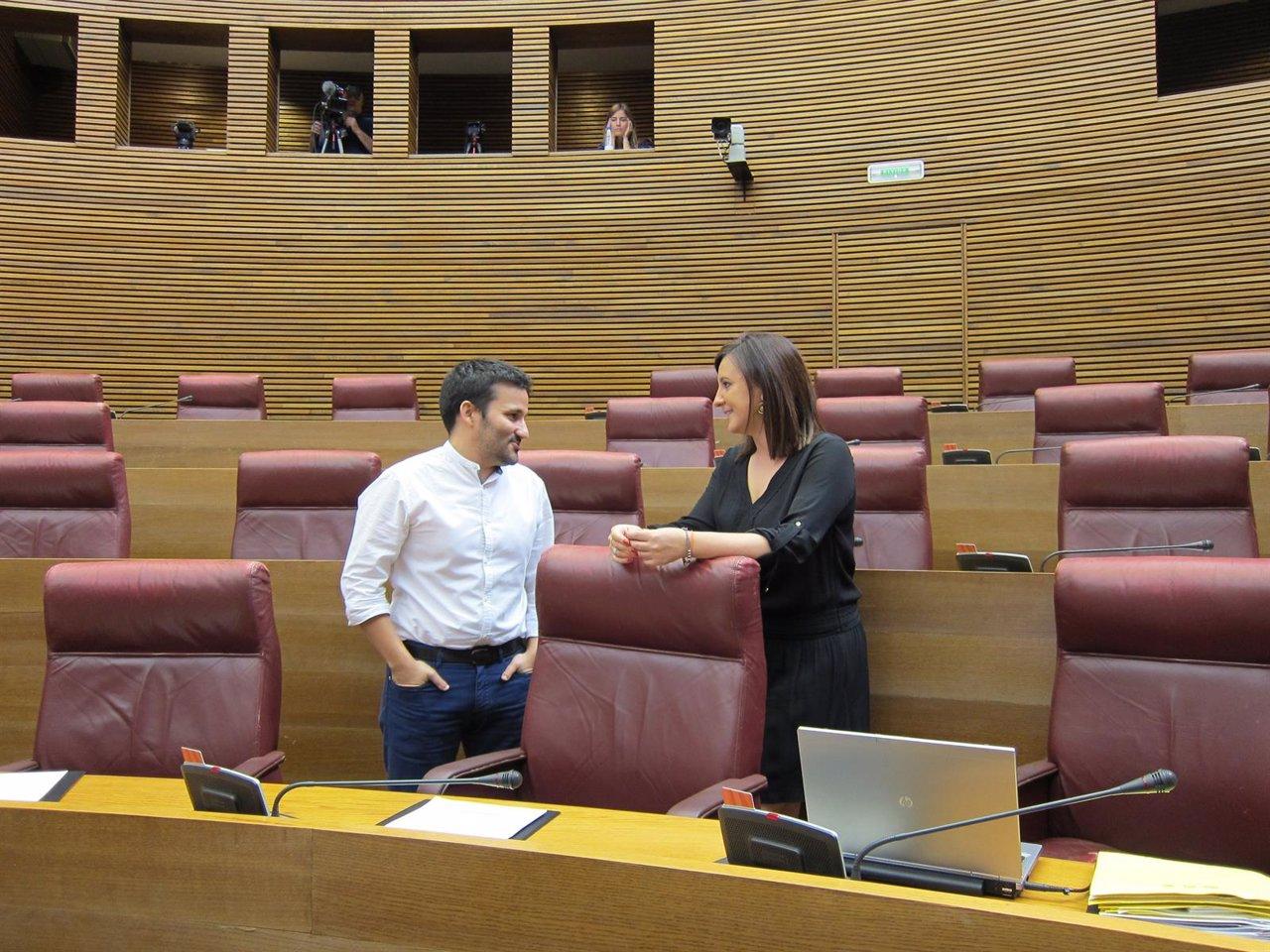 Vicent Marzà y María José Català conversan en las Corts