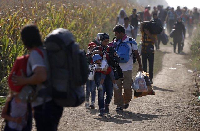 Refugiados se dirigen de Serbia a Croacia