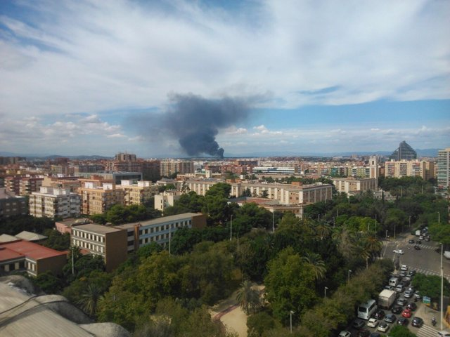 Columna de humo por el incencio en Fuente del Jarro