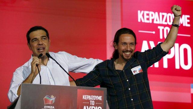Alexis Tsipras con Pablo Iglesias