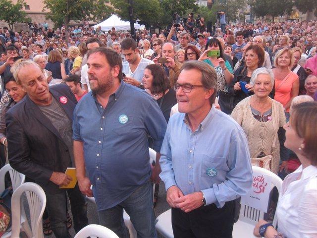 J.M.Mainat, O.Junqueras, el pte.A.Mas y C.Forcadells, Junts pel sí.