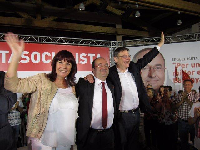 M.Navarro (PSOE), M.Iceta (PSC) Y X.Puig (PSPV)