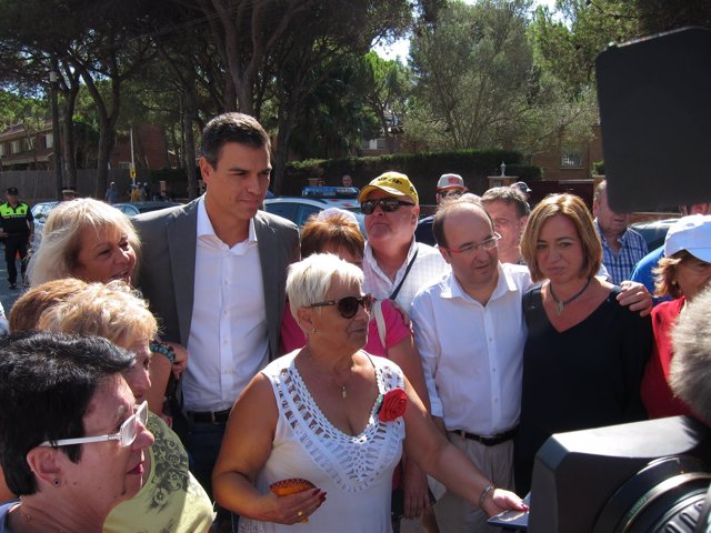 Pedro Sánchez (PSOE) Miquel Iceta, Carme Chacón (PSC): Festa de la Rosa 2015