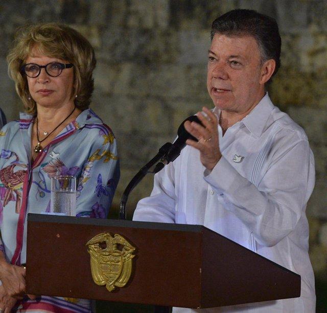 El presidente colombiano, Juan Manuel Santos, en Cartagena