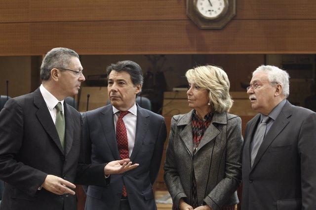 Gallardón, Aguirre, Ignacio González y Leguina en la Asamblea de Madrid