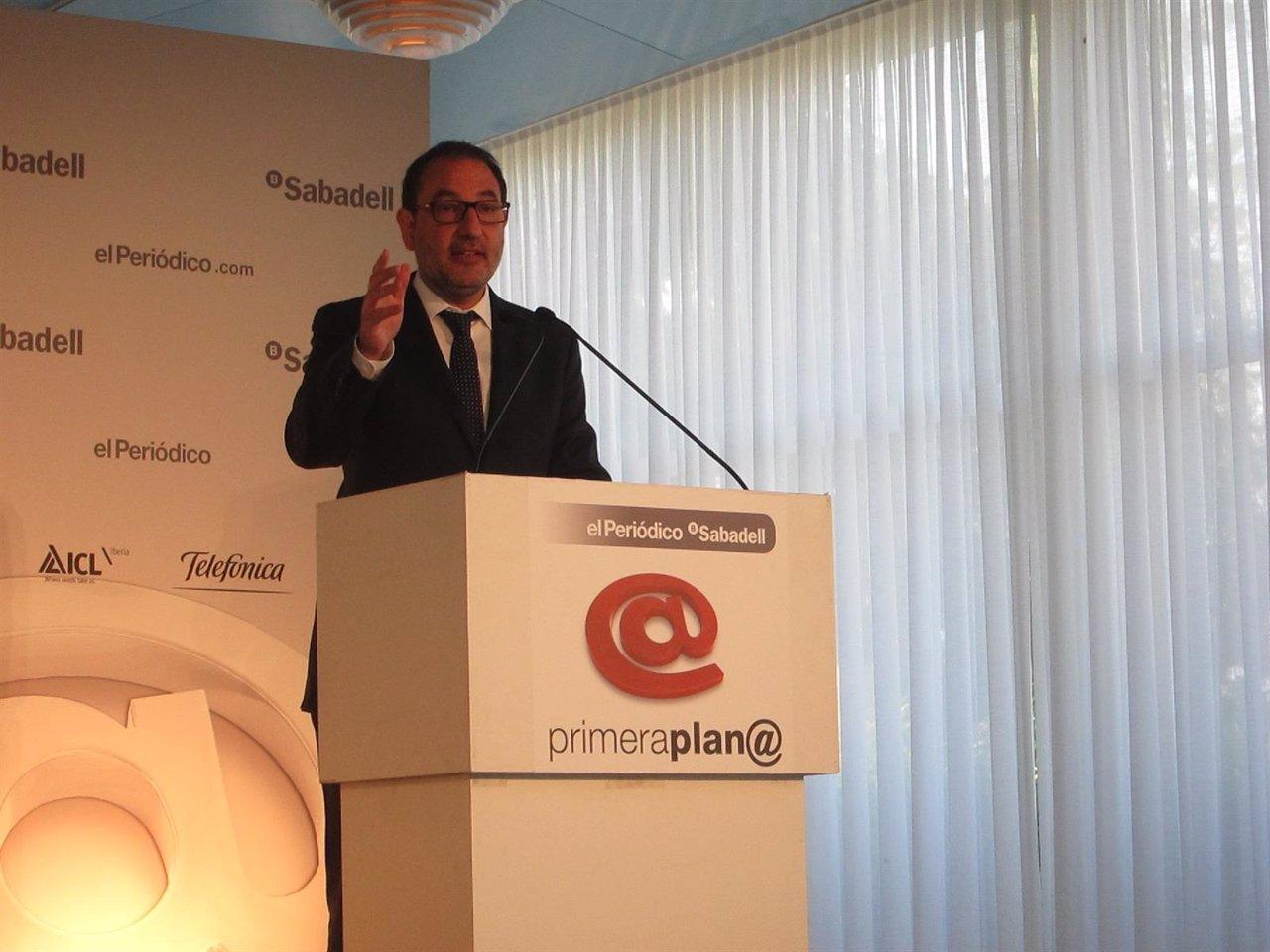 El candidato de Unió, Ramon Espadaler, en una conferencia-coloquio
