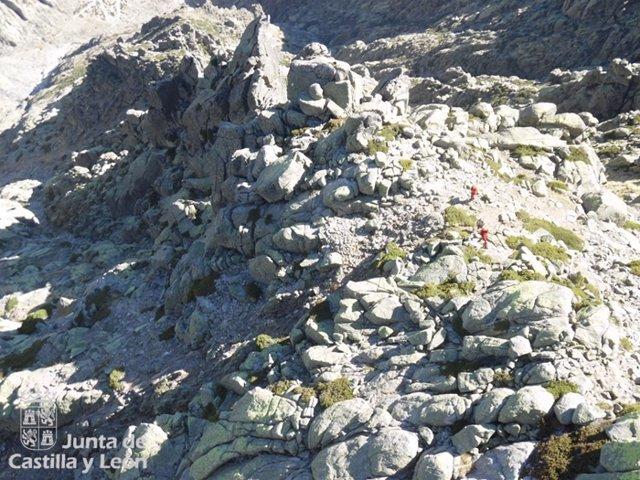 Zona donde quedó enriscado el montañero.
