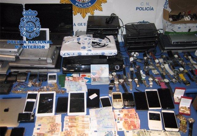 Objetos incautados operación en Mallorca