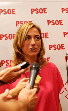 La secretaria de Relaciones Internacionales del PSOE, Carme Chacón, en Ferraz