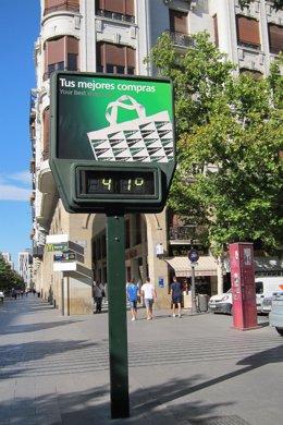 Termómetro a 41 grados centígrados en Zaragoza