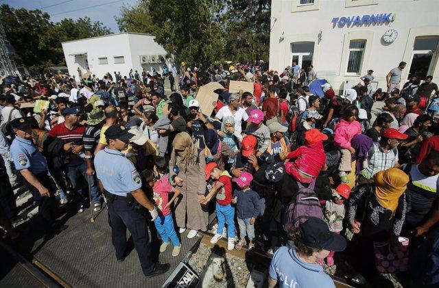Refugiados en Tovarnik (Croacia)